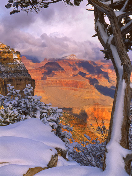 Snowy sunset in Grand Canyon,  Arizona.   Few people realize how dangerous air pollution is and how many people it kills every year, right now.  Even in places like this the air is full of small particulate matter.  Climate change means unbreathable air.