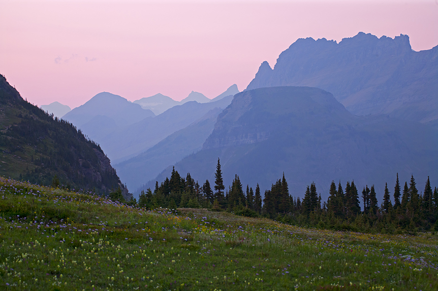 Wildflower meadow at Twilight near Logan Pass in Glacier National Park in Montana.   The intersection of climate change and nuclear war could mean the end of places like this.