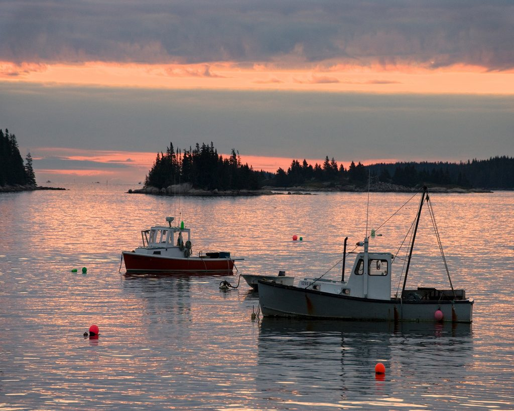 Lobster Boats at Dawn in Maine.  What happens when when Republicans slash social programs