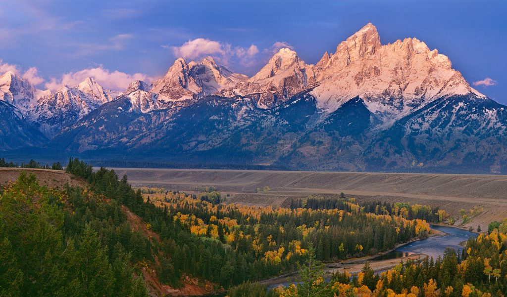 The Tetons from the Snake River Overlook early in the morning.