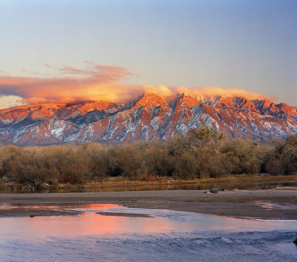 The Rio Grande and the Sandia Mountains in New Mexico