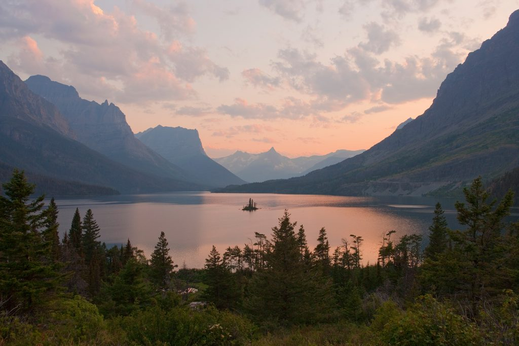 Sunset at St Mary lake in Glacier National Park.