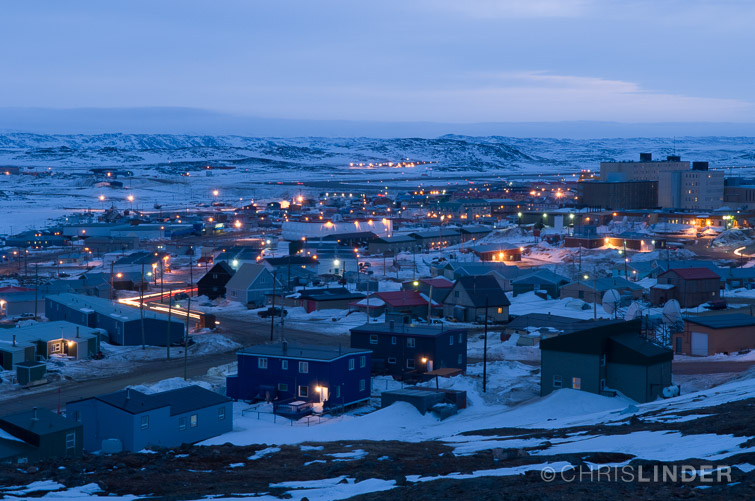 In  Iqaluit, the capital of Nunavut.    The Inuit people have the Highest Suicide rate in the world