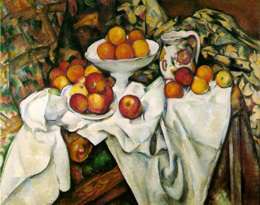 Here is a picture by Cezanne called Oranges and Apples.  It's the contrast between the white cloth and the fruit that is part of what makes this picture work.  There is a lot more going on here, but this is part of it.