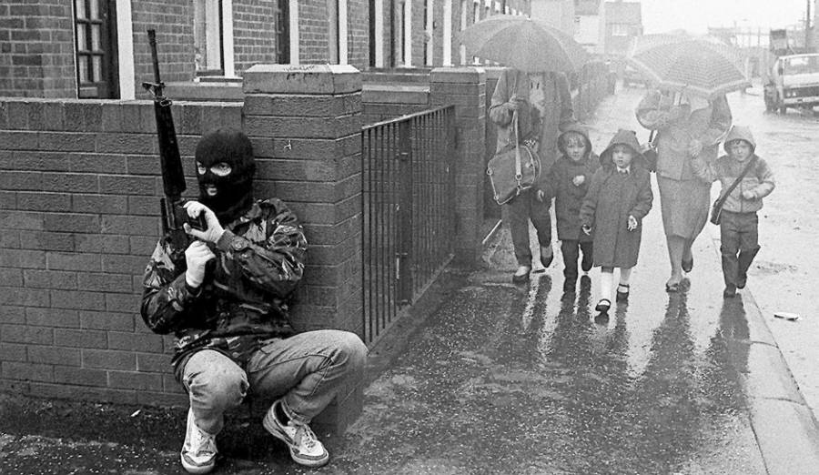 Northern Ireland during the troubles.  What a strange world we now live in