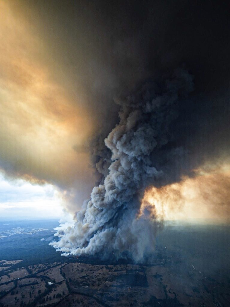 Smoke above Gippsland Australia on January 2, 2020.   Thousands of tourists fled  Australia's wildfire-ravaged eastern coast ahead of worsening conditions as the military started to evacuate people trapped on the shore further south.   Even slightly smokey air is dangerous