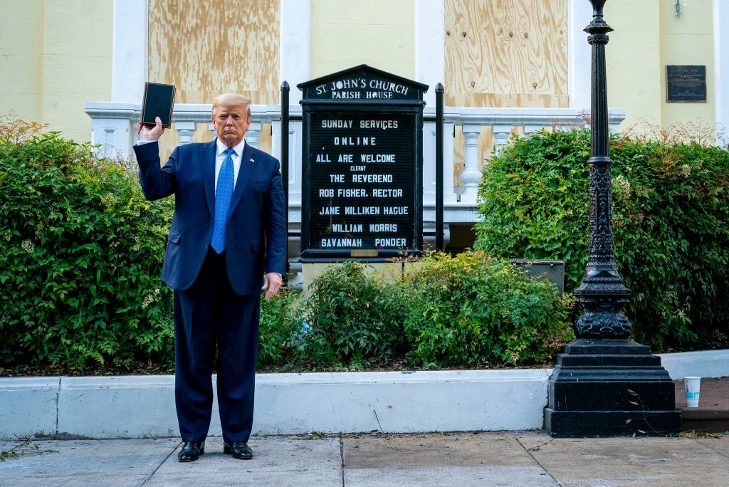 President-Trump-brandishing-a-Bible-in-front-of-St.-John's-Church-in-Washington-on-Monday.  Credit...Doug-MillsThe-New-York-Times.  William Barr, Trump's Chief Enabler has long parroted Trumps views rather than pointing out that many of Trumps actions are clearly unconstitutional.