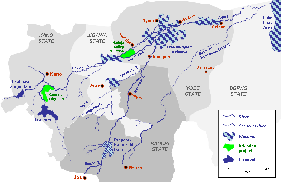 The Hadejia-Nguru wetlands northwest of Lake Chad in Nigeria showing the new dams and irrigation projects.