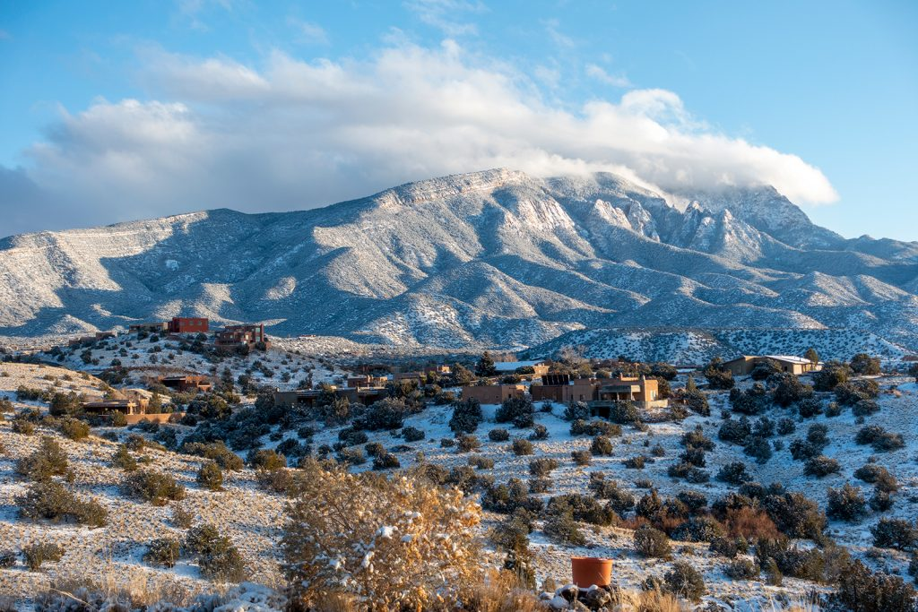 The snowy Sandia Mountains from Placitas, NM.   I have always lived in places like this between the Great Plains and the Rockies.