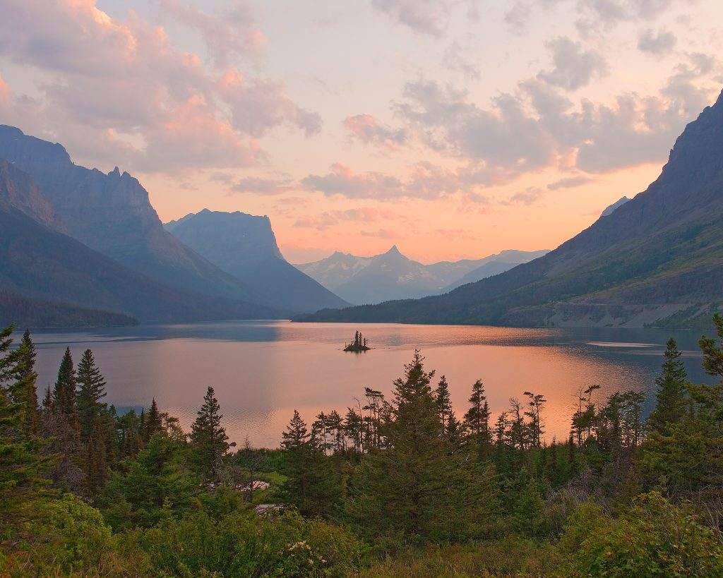 Sunset on St. Mary  lake in Glacier National Park.  CO2 is at record high despite everything.  If this continues,  places like this will soon be gone.