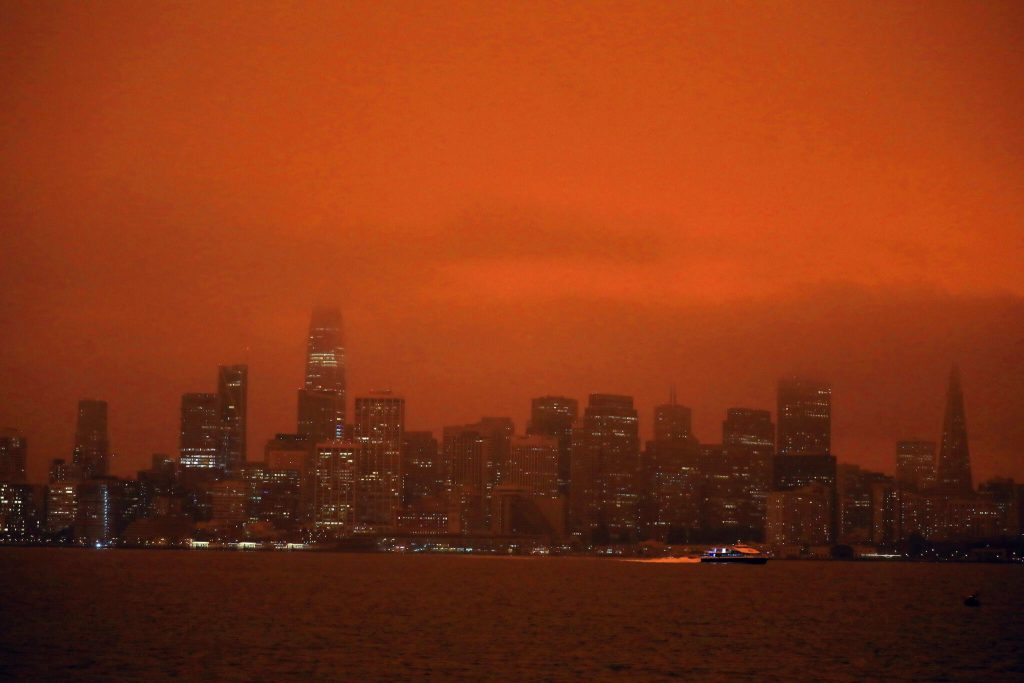 San Francisco Skyline during 2020 CA Wildfires.  Even slightly smokey air is dangerous