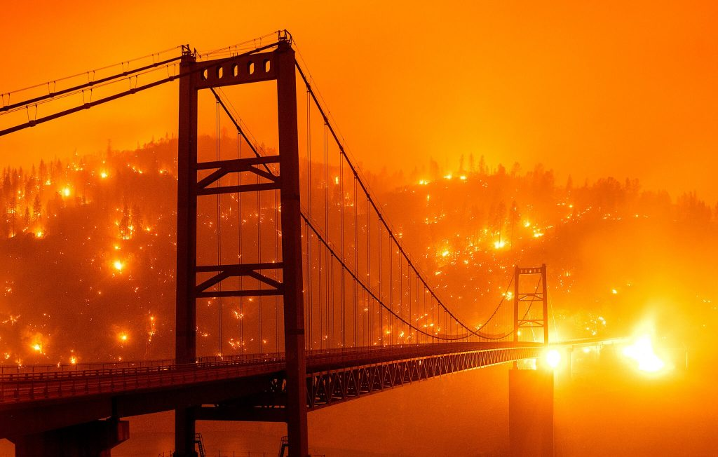 Forest fire season is now longer everywhere.  This is the-Bear-Fire-which-burned-near-the-Bidwell-Bar-Bridge-in-Oroville-Calif.