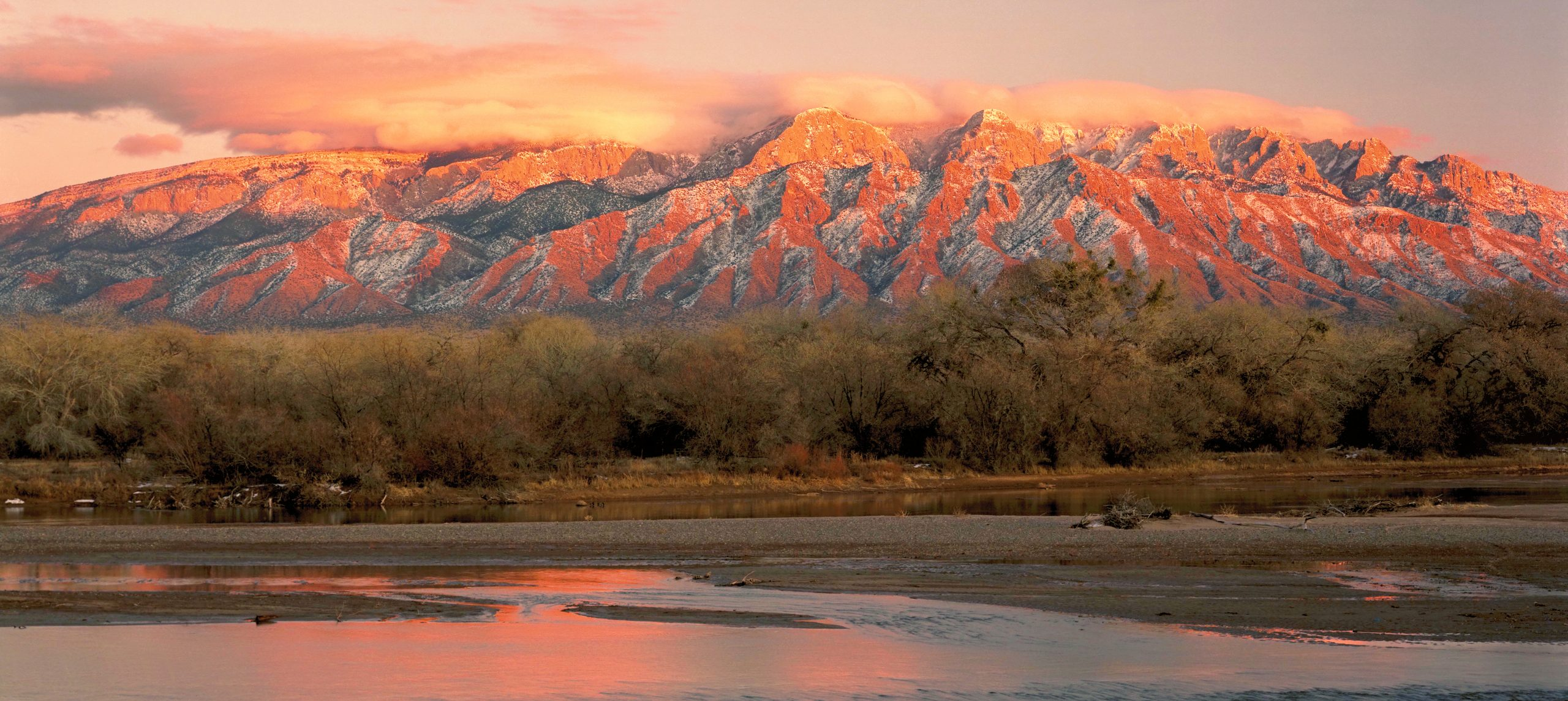The Sandia Mountains and Rio Grande River in NM.  Their irreversibility is why tipping points are so scary.