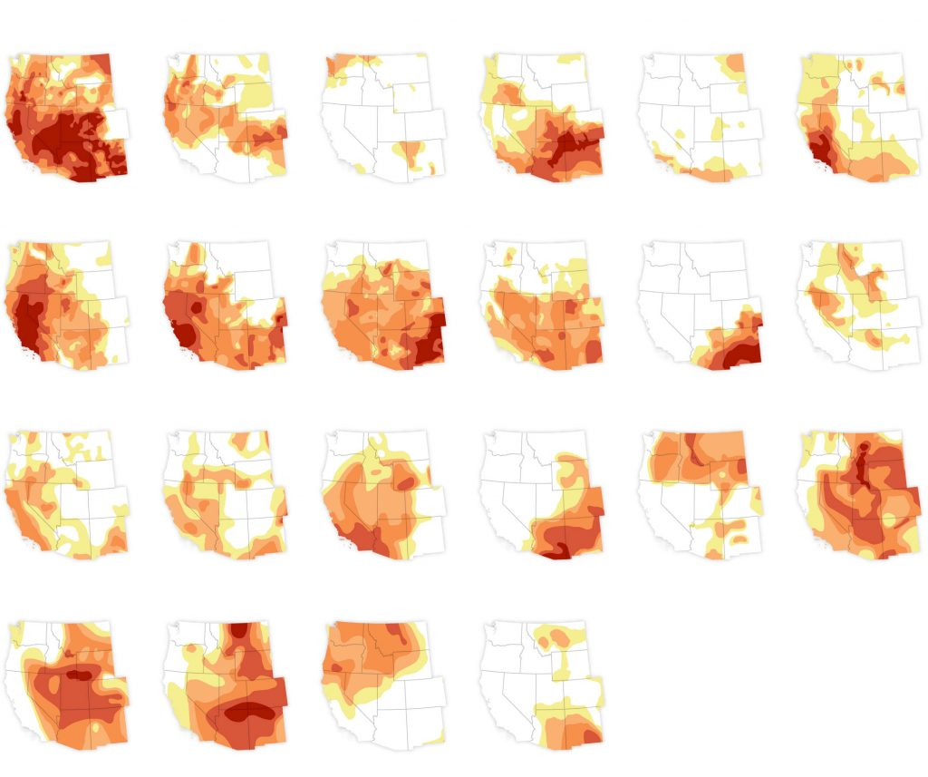 Drought maps of the US southwest.  2921 is the top left and 2000 is the bottom right.