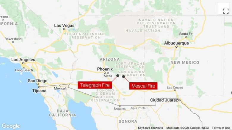 Here is the location of the two wildfires sending smoke into New Mexico.  Notice Albuquerque, which is directly downwind of the fire.