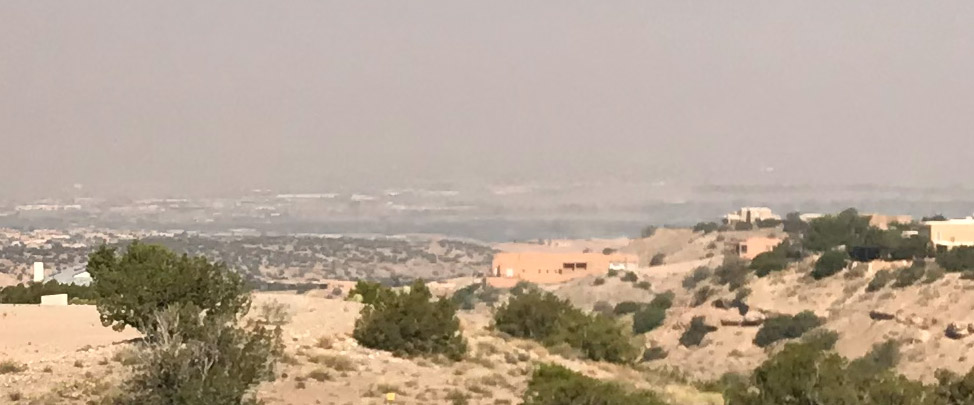 Close up of the Rio Grande valley in northern Albuquerque..  Even slightly smokey air is dangerous